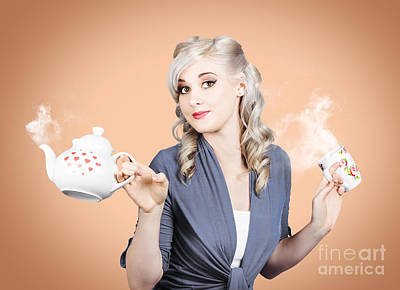 Young Beautiful Girl Drinking Tea Or Coffee Poster