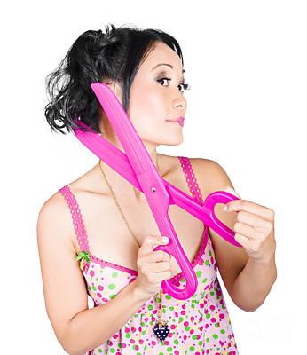 Young Beautiful Woman Cutting Hair At Beauty Salon Poster