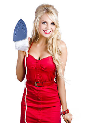 Young Blond Woman With Iron Poster
