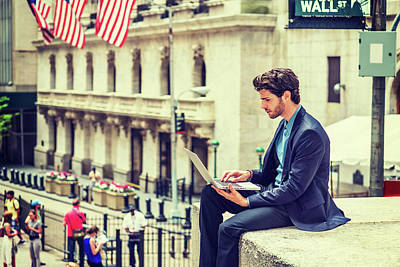 Young Businessman Working On Wall Street In New York Poster