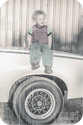 Young Child Sitting On The Bonnet Of A Muscle Car Poster