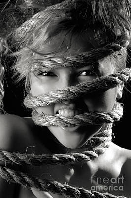 Young Expressive Woman Tied In Ropes Poster