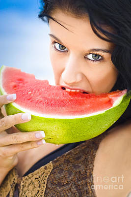 Young Female Biting Into Juicy Pink Watermelon Poster