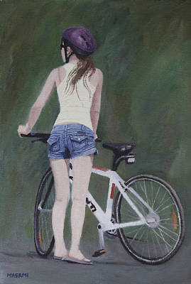 Young Girl And Bicycle Poster