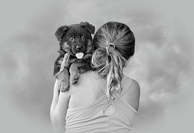 Young Girl And Puppy Poster