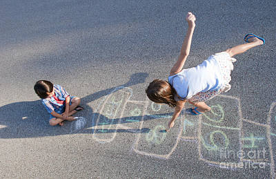 Young Girl Playing Hopscotch On Pavement Poster by Bill Bachmann