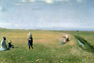 Young Girls Picking Flowers In A Meadow Poster