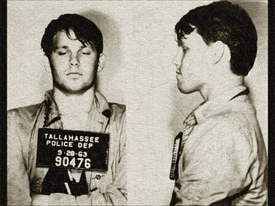 Young Jim Morrison Mug Shot 1963 Pencil Pastels Gold Poster