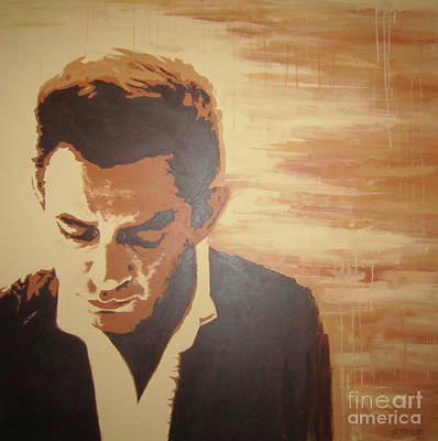 Poster featuring the painting Young Johnny Cash by Ashley Price