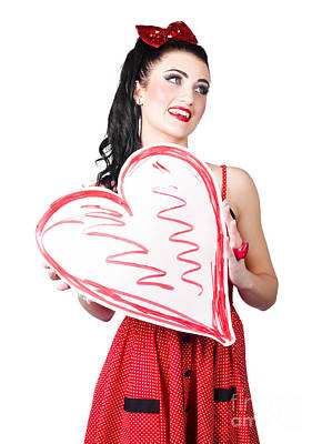 Young Lady Holding Retro Red Heart Card Poster
