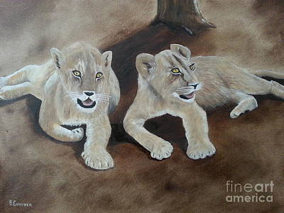 Young Lions Poster by Bev Conover