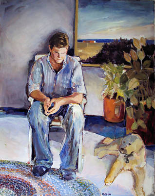 Young Man And His Dog Poster