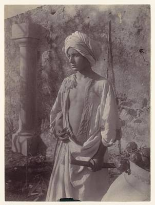 Young Man In White Robe And Head Gear Holding Scabbard Poster by MotionAge Designs