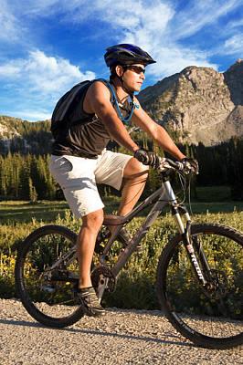 Young Man Mountain Biking Poster by Utah Images