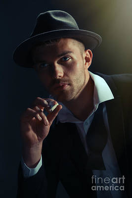 Young Man Smoking Poster
