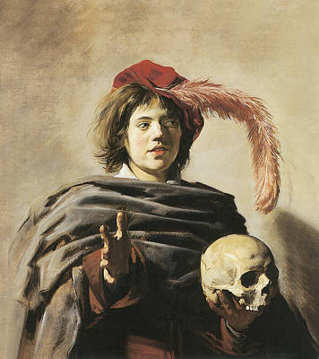 Young Man With A Skull Poster by Frans Hals