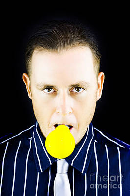 Young Man With Yellow Bulb In His Mouth Poster