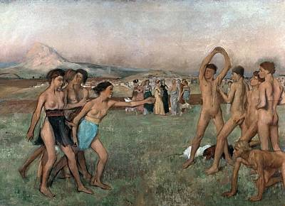 Young Spartans Exercising Poster by Edgar Degas