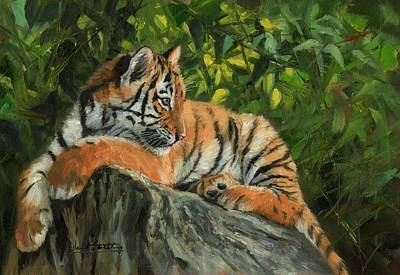 Poster featuring the painting Young Tiger Resting On Rock by David Stribbling