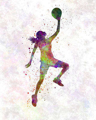 Young Woman Basketball Player 02 In Watercolor Poster by Pablo Romero