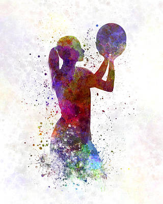 Young Woman Basketball Player 03 In Watercolor Poster