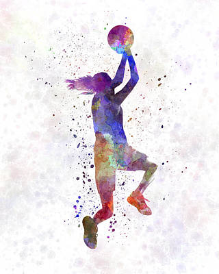 Young Woman Basketball Player 05 In Watercolor Poster