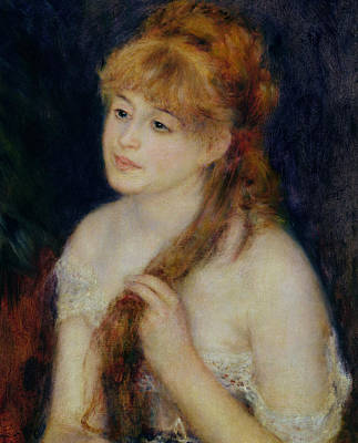 Young Woman Braiding Her Hair Poster by Pierre Auguste Renoir