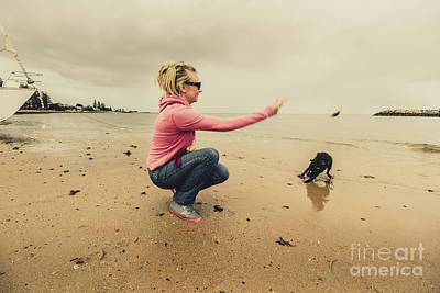 Young Woman Exercising Her Dog At The Beach Poster