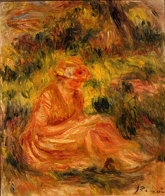 Young Woman In A Landscape Ca. 1915 - 1919 Poster by Pierre Auguste Renoir
