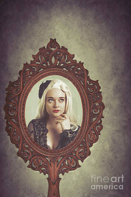 Young Woman In Mirror Poster by Amanda Elwell