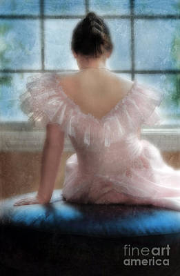Young Woman In Pink Ruffled Dress Poster