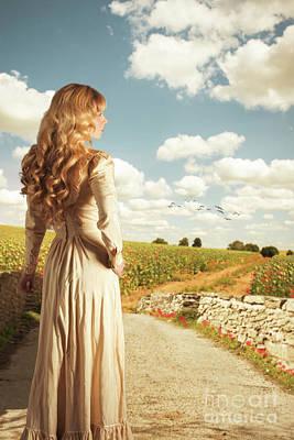 Young Woman On Bridge Poster by Amanda Elwell