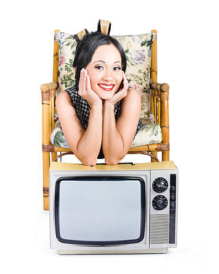 Young Woman Resting On Old Retro Tv Poster by Jorgo Photography - Wall Art Gallery
