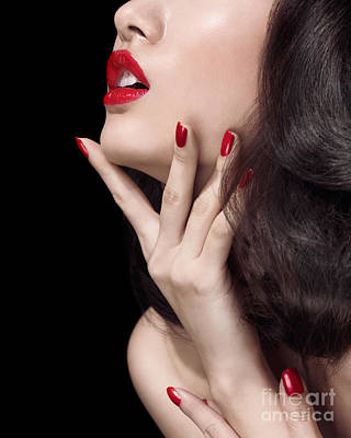 Young Woman With Red Lipstick Sensual Closeup Of Mouth Poster