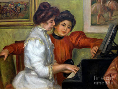 Yvonne And Christine Lerolle At The Piano, By Pierre-auguste Ren Poster