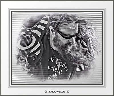 Zakk Wylde Sketch Matted Poster by Scott Wallace