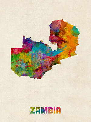 Zambia Watercolor Map Poster by Michael Tompsett