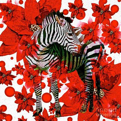 Zebra And Flowers Poster by Saundra Myles