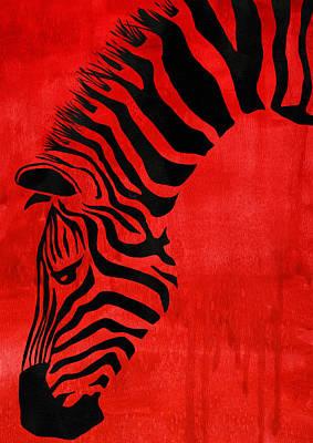 Zebra Animal Decorative Red Poster 4 - By Diana Van Poster by Diana Van