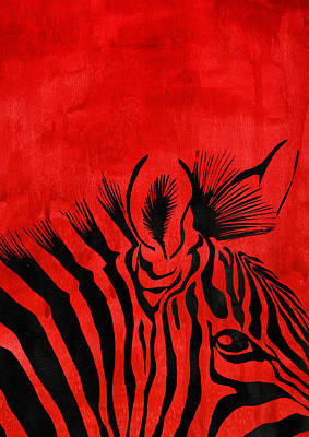Zebra Animal Decorative Red Poster 6 - By Diana Van Poster by Diana Van