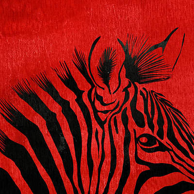 Zebra Animal Red Decorative Poster 5 - By Diana Van Poster by Diana Van