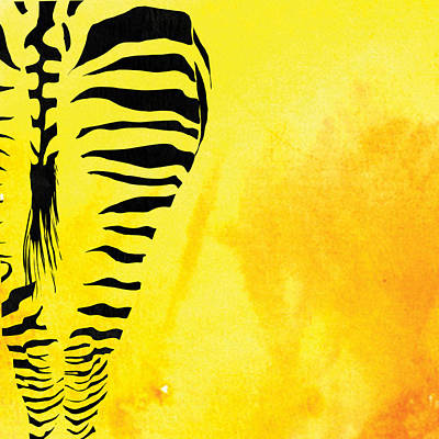 Zebra Animal Yellow Decorative Poster 1  - By Diana Van Poster