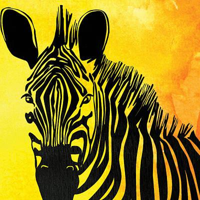Zebra Animal Yellow Decorative Poster 2  - By  Diana Van Poster by Diana Van