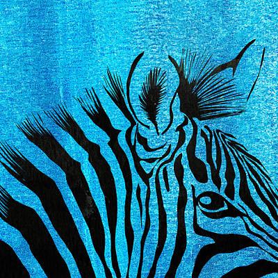 Zebra Animal Blue Decorative Poster 5 - By  Diana Van Poster