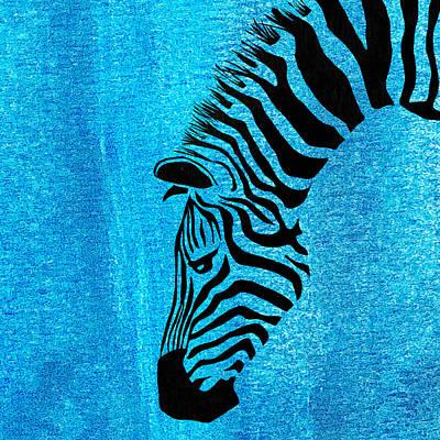 Zebra Animal Blue Decorative Poster 6 - By  Diana Van Poster
