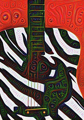 Zebra Guitar Rendering Poster by Bill Cannon