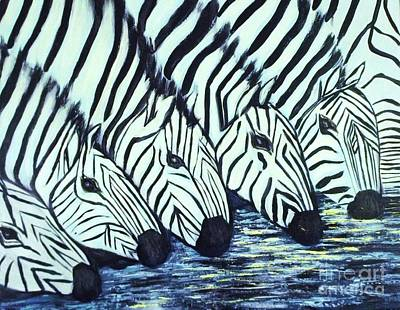 Poster featuring the painting Zebra Line by Donna Dixon
