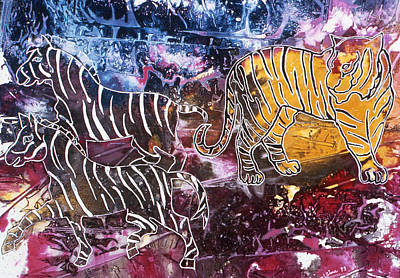 Poster featuring the painting Zebra by Sima Amid Wewetzer
