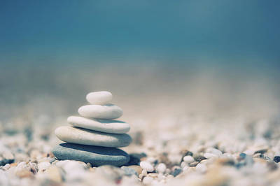 Zen Balanced Pebbles At Beach Poster by Alexandre Fundone