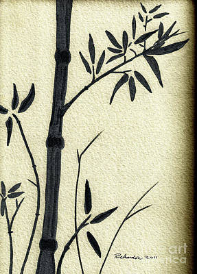 Zen Sumi Antique Bamboo 1a Black Ink On Fine Art Watercolor Paper By Ricardos Poster